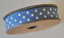 3m Roll Woven Ribbon Blue with Cream Dots Dotty Polka Dot East Of India
