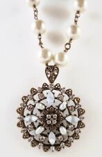 £75 Baroque Gold White Pearl Pendant Long Necklace Swarovski Elements Crystal