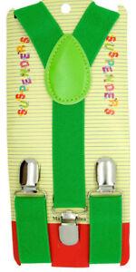NEW Boys Girls Baby Kids Child Children Clip on Y Back Elastic  Green Suspenders
