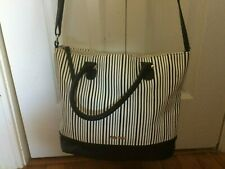 Nine West  Hand Bag with vertical black and white stripes