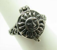 STUNNING Sterling Silver VINTAGE POISON RING Hinged Pill Box PAGAN SUN LID sz 8