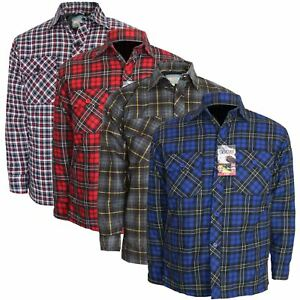Mens Thick Lumberjack Check Button Padded Quilted Lined Warm Shirt Jacket S-6XL
