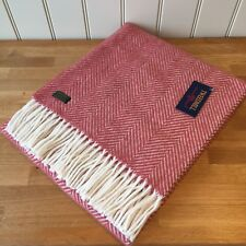 TWEEDMILL Pure New Wool  KNEE RUG / SMALL THROW Fishbone CRANBERRY Blanket Gift