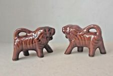 Lot 2 Vintage Style Glazed Ceramic Lions Small Figurines