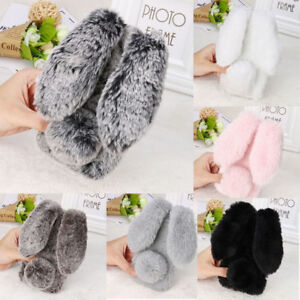 Rabbit Plush Fuzzy Fluffy Phone Case For iPhone 12 13 Pro Max 11 XR XS 6 7 8 SE