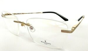 2 Brand New Original Maserati rimless 54/17 145 Titanium Made in Italy eyewear