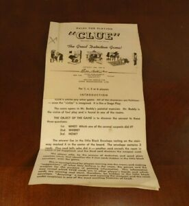 Vintage Clue Board Game Replacement Instructions Rules 1949 / 1950
