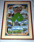 Vintage N Ireland Large Framed Tapestry Linen Bright Green Blue Castle Art Frame