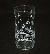 "Old Vintage 6"" Drinking Glass Tumbler w White Dainty Flowers Unknown Maker MCM"