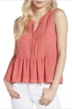 Cupcakes And Cashmere Womens Size Small Hughes Embroidered Peplum Tank Top NWT