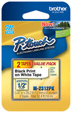 "2/Pack Brother M231-2PK P-touch Label Tape 1/2"" Black on White Ptouch Label"