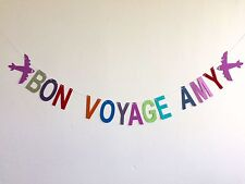 personalised 'bon voyage' with planes, party banner paper bunting decoration