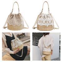 Women Straw Shoulder Bag Flower Beach Rattan Handbag Knitted Woven Tote