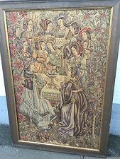 Altes Gobelin Bild im Holzrahmen Motiv: Damen mit Blumen 75x51cm
