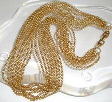 Vintage Signed NAPIER Gold tone Layered Multi Strand Micro Bead Chains Necklace