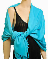 Ladies Soft Touch Pashmina Scarf Scarves Shawl Wrap Blue / Aqua New