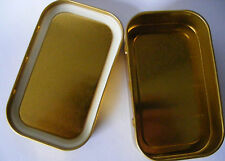 5 x Metal Tobacco Tins 2oz With Rubber Seal Inside The Lid 125ml Gold Colour