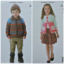 KNITTING PATTERN Childrens Long Sleeve Striped Jacket Hat & Cardigan DK 3907