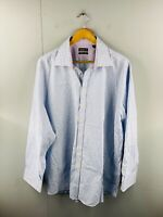 Ted Baker Endurance Men's Long Sleeve Button Up Shirt Size 19 Blue Check