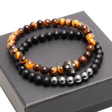 Charm Men 2PCS Natural Tiger Eye Stone Bead Bracelet Zircon Skull Bangle Jewelry