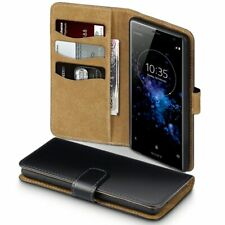Pu Leather Wallet Case Cover Black Tan For Sony Xperia Xz2