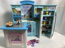Vintage Barbie Kitchen Set Living In Style PlaySet- Blue 2002, Added Access