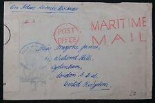 WW2 Active Service Maritime Mail Cover, HM Ship Cachet & Censor Tape to Sydenham