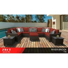 kathy ireland River Brook 12 Piece Wicker Patio Furniture Set 12g in Terracotta
