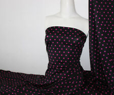 Black/ Fuchsia Polka-dot Lycra/Spandex 4 way stretch Matt Finish Fabric