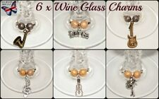 6 x Silver Gold Wine Glass Ring Charms Music Party Favours Free Gift Bag