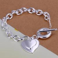 ASAMO Damen Armband mit 2 Herz Anhänger 925 Sterling Silber plattiert A1284