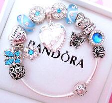 Authentic Pandora Silver Bangle Charm Bracelet, White Love Blue European Charms.