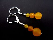 A PAIR OF YELLOW JADE DANGLY  LEVERBACK HOOK EARRINGS. NEW.