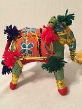 Vintage Rajasthan Embroidered India Textile Cloth Stuffed Elephant Boho decor