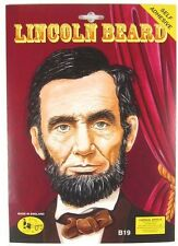 Mens Black Fake False Abraham Lincoln USA Fancy Dress Costume Beard Moustache