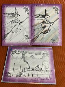 Wizard of Oz Warren Martineck  sketch card set of 3 cards