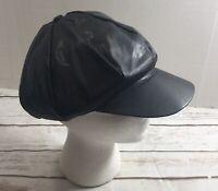 Vintage faux leather cabbie hat Beatnik