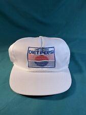 Vintage DIET PEPSI Logo White Embroidered Adjustable SNAPBACK HAT CAP *see Desc.