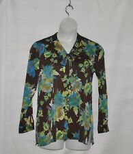 Linea by Louis Dell'Olio Floral Printed Blouse Size S Brown Multi