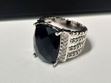 David Yurman Sterling Silver 16X12mm Wheaton Black Onyx and Diamonds Ring Size 7