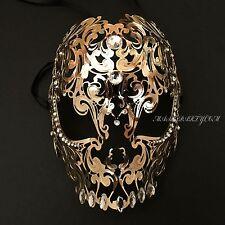 Skull Gold Light Metal Laser Cut Diamond Rhinestones Venetian Masquerade Mask