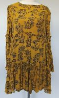 Ebby and I Size 8 Mustard Yellow Floral Tiered Long Sleeve Ruffle A-Line Dress