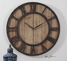 "RESTORATION XXL 30"" RUSTIC WOOD WALL CLOCK METAL HARDWARE ROMAN NUMBERS"