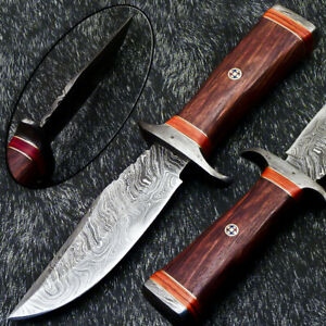 """Authentic HAND FORGED DAMASCUS 10"""" HUNTING KNIFE -NATURAL WOOD HANDLE PS-1322"""