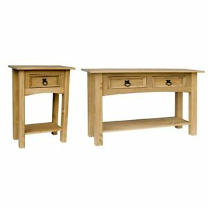 Corona 1 Drawer Or 2 Drawer Pine Console Table Shelf Solid Pine Wood Furniture