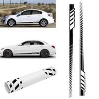 2pcs Car Body PVC Long Stripe Stickers Decals Side Skirt Decoration Racing Black