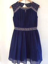 Ladies Gorgeous LITTLE MISTRESS navy blue Chiffon Beaded occassion dress size 12
