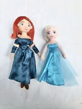 "Disney Store  Brave 11"" Tall Merida  and Elsa 10"" soft toy plush doll"