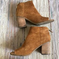 Franco Sarto Bootie Womens 7.5 Goldie Suede Ankle Boots Peep Toe Stacked Heel