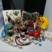 Junk Drawer Lot Dresser Items Green Pedstal Dish Rings Bracelets Look & See!